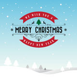 Merry Christmas and Happy New Year typographic background Royalty Free Stock Images