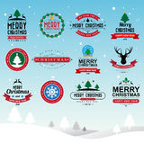 Merry Christmas and Happy New Year typographic background Stock Photography
