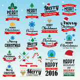 Merry Christmas and Happy New Year typographic background Royalty Free Stock Photography