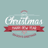 Merry Christmas and Happy New Year typographic background Royalty Free Stock Photos