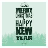 Merry Christmas and Happy New Year. Typographic Christmas card design with winter landscape. Retro vector illustration. Merry Christmas and Happy New Year Royalty Free Stock Image