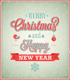 Merry Christmas and Happy New Year typographic des Royalty Free Stock Photos