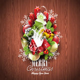 Merry Christmas and Happy New Year typographic design with holiday elements on wood texture background. Merry Christmas and Happy New Year typographic design vector illustration