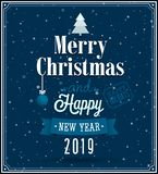 Merry Christmas and Happy New Year typographic design royalty free illustration