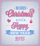 Merry Christmas and Happy New Year typographic design. Vector illustration Royalty Free Stock Image