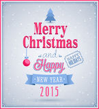 Merry Christmas and Happy New Year typographic design. Vector illustration Royalty Free Stock Photo
