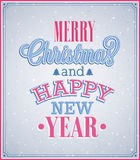 Merry Christmas and Happy New Year typographic design. Vector illustration Royalty Free Stock Photos