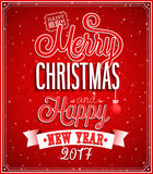 Merry Christmas and Happy New Year typographic design. Vector illustration stock illustration