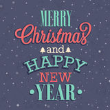 Merry Christmas and Happy New Year typographic design. Stock Image