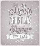 Merry Christmas and Happy New Year typographic design stock illustration