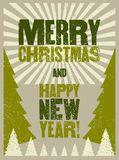 Merry Christmas and Happy New Year. Typographic grunge vintage style Christmas card or poster design. Retro vector illustration. vector illustration