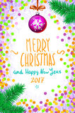Merry Christmas and Happy New Year 2017 typographic text on winter background with red bow, snow and snowflakes. confetti Greeting Royalty Free Stock Photography