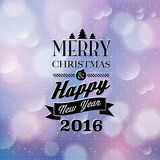 Merry christmas. And happy new year 2016, typography, Christmas background with snowflakes stock illustration