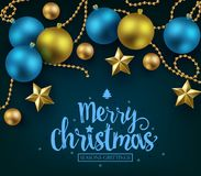 Merry Christmas and Happy New Year Typography on Blue Background stock illustration