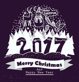 Merry christmas and Happy New Year typography design with hand drawing elements. Isolated vector illustration. For your project Royalty Free Stock Image