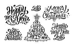 Merry Christmas and Happy New Year Typography. Merry Christmas, Feliz navidad and Happy New Year text typography greetings collection for print and web banner Royalty Free Stock Images