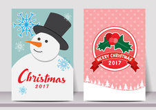 Merry Christmas Happy new year typography flyer template with lettering. greeting card, Poster, card, label, banner design set. Ve Royalty Free Stock Images