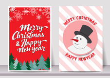 Merry Christmas Happy new year typography flyer template with lettering. greeting card, Poster, card, label, banner design set. Ve Royalty Free Stock Image