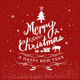 Merry Christmas And Happy New Year Typography Hand Drawn. Vintage Stock Photos