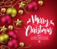 Merry Christmas and Happy New Year Typography on Red Background with Christmas Balls Royalty Free Stock Image