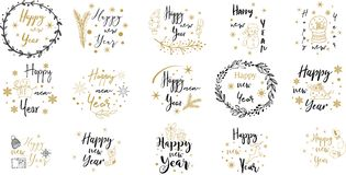 Merry Christmas. Happy New Year.Typography set. Vector emblems, text design. Usable for banners, greeting cards, gifts. Merry Christmas. Happy New Year stock illustration