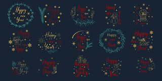 Merry Christmas. Happy New Year.Typography set. Vector emblems, text design. Usable for banners, greeting cards, gifts. Merry Christmas. Happy New Year vector illustration