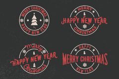 Merry Christmas and Happy New Year Typography set. Vector logo, emblems, text design. Usable for banners, greeting cards, gift. Royalty Free Stock Photos
