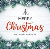 MERRY CHRISTMAS AND HAPPY NEW YEAR  typography,text with christmas ornament Royalty Free Stock Photo