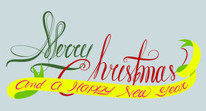 Merry christmas and a happy new year typography Stock Photography