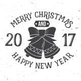 Merry Christmas and Happy New Year 2017 typography. Vector illustration. Xmas retro badge. Concept for shirt or logo, print, stamp, patch Royalty Free Stock Photography