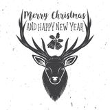 Merry Christmas and Happy New Year 2017 typography. Vector illustration. Xmas retro badge. Concept for shirt or logo, print, stamp, patch Royalty Free Stock Image