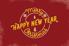 Merry Christmas and Happy New Year Typography. Vector logo, emblem, text design. Usable for banners, greeting cards, gifts etc. Stock Photography