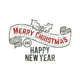 Merry Christmas and happy New Year typography wish sign. Vector illustration of Christmas calligraphy label. Use for holiday photo overlays, tee designs, new vector illustration