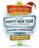 Merry Christmas And Happy New Year On Urban Signpost Royalty Free Stock Images