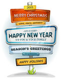 Merry Christmas And Happy New Year On Urban Signpost Royalty Free Stock Image