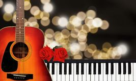 Merry Christmas Happy New Year and Valentine Love Background. Merry Christmas Happy New Year and Valentine Love Background with two red roses piano and guitar Royalty Free Stock Photos