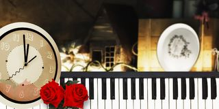 Merry Christmas Happy New Year and Valentine Love Background. Merry Christmas Happy New Year and Valentine Love Background with two red roses piano and midnight stock photo