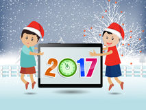 Merry christmas and Happy new year 2017. Vector Stock Photo