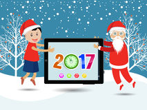 Merry christmas and Happy new year 2017. Vector Royalty Free Stock Images