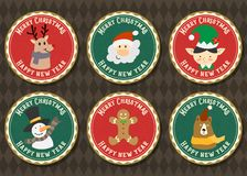 Merry Christmas and Happy new year vector badge collection. Merry Christmas vector logo with Christmas symbol collection set stock illustration