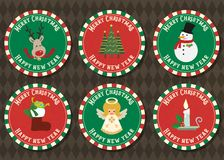Merry Christmas and Happy new year vector badge collection. vector illustration
