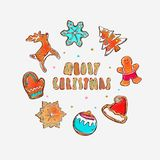 Merry christmas and happy new year vector banner. Gingerbread cookies concept. Different winter elements: snowflakes, gingerbread Royalty Free Stock Image