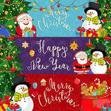 Merry Christmas and Happy New Year Vector Banners Royalty Free Stock Photo