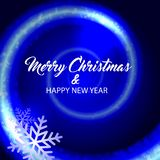 Merry christmas and happy new year. Blue background. Merry christmas and happy new year. Vector blue background stock illustration
