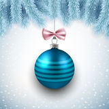 Merry Christmas and Happy New Year vector card with blue decorative ball and fir branches. Merry Christmas and Happy New Year vector card design with blue Stock Image