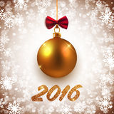 Merry Christmas and Happy New Year vector card with gold decorative ball Stock Photography