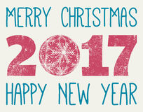 Merry Christmas and Happy New Year 2017 vector Stock Photos