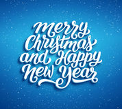 Merry Christmas and Happy New Year vector card. Merry Christmas and Happy New Year lettering on blue blurry vector background with sparkles. Greeting card design Royalty Free Stock Photo