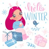 Merry Christmas and Happy New Year 2019 vector card. Little girl. Merry Christmas and Happy New Year 2019 vector card. Cute little girl. Cartoon kids royalty free illustration