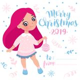 Merry Christmas and Happy New Year 2019 vector card. Little girl. With New Year`s toy. Cute character. Cartoon illustration. Holidays design. Young teen, baby stock illustration